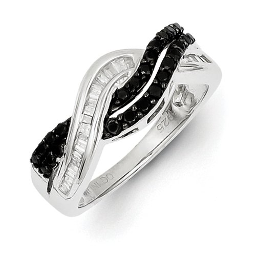 Sterling Silver Polished Prong set Open back Gift Boxed Channel set Rhodium-plated Baguette and round Black and White Diamond Ring - Size 7