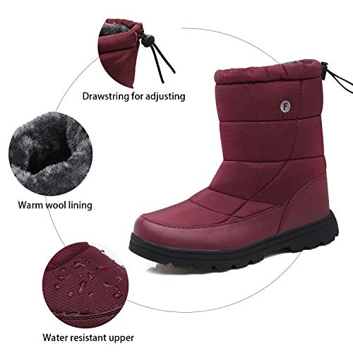 Fur Warm Red Boots JOINFREE Snow Winter Calf Waterproof Couple's Lightweight Shoes Mid Rose qI7w1XxYwT