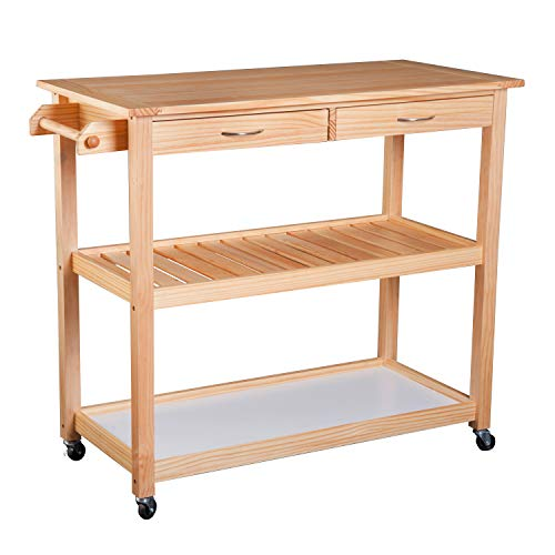 "HOMCOM 42"" Kitchen Trolley Cart Rolling Island Utility Serving Cart with 2 Drawers and 3-Tier Shelf Pine Wood"