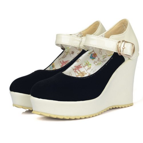 AmoonyFashion Womans Closed Round Toe High Heel Wedges PU Frosted Assorted Colors Pumps Black 5jNvXd2