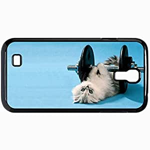 Fashion Unique Design Protective Cellphone Back Cover Case For Samsung GalaxyS4 Case Cat Dumbbell Black