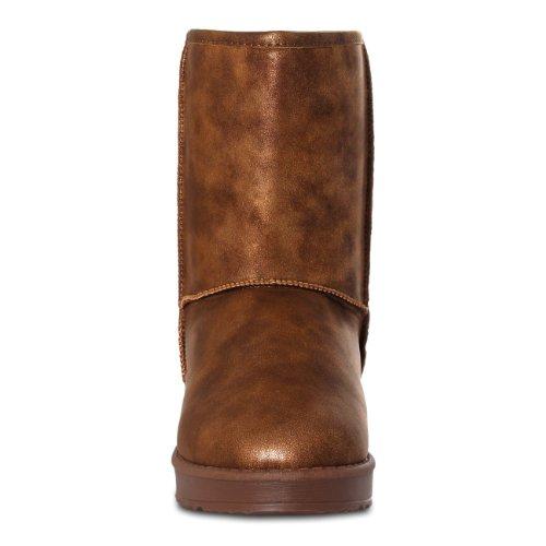 CASPAR Damen Eskimo Moon Boots / Stiefeletten im Glamour Style - 2 Farben antik kupfer
