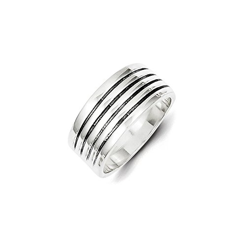 Sterling Silver Solid Antique finish Antiqued Ribbed Ring - Size 8