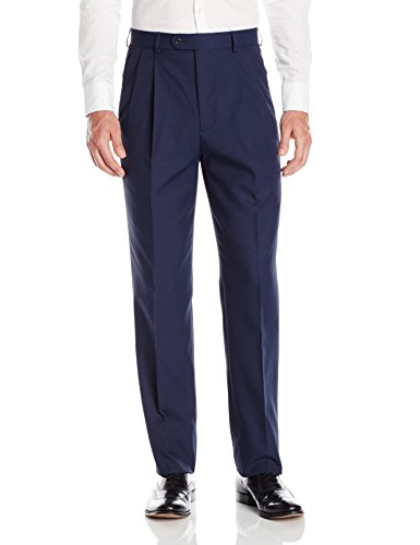 Linea Naturale Men's Pleated Washable Microfiber Twill Trouser, Navy, 36W