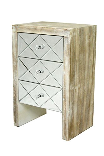 Heather Ann Creations The Laurel Collection Contemporary Style Wooden Mirrored 3 Drawer Living Room Accent Chest, White Wash (Cabinet File Nightstand)