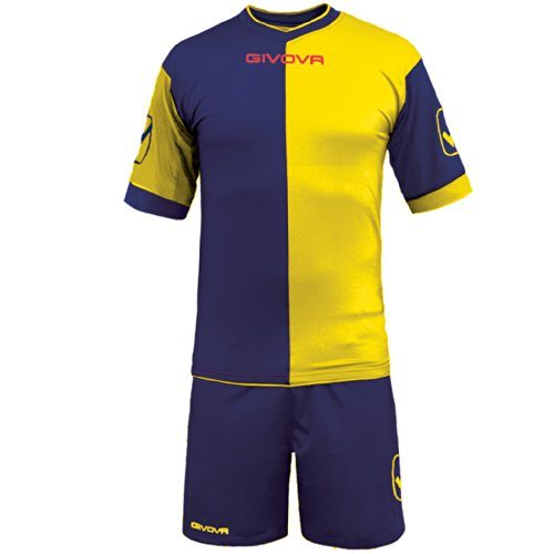 GIVOVA Completo Calcio Calcetto Kit Combo Maglietta Maniche Corte e Pantaloncini, Colore: Blu/Giallo, Taglia: XL