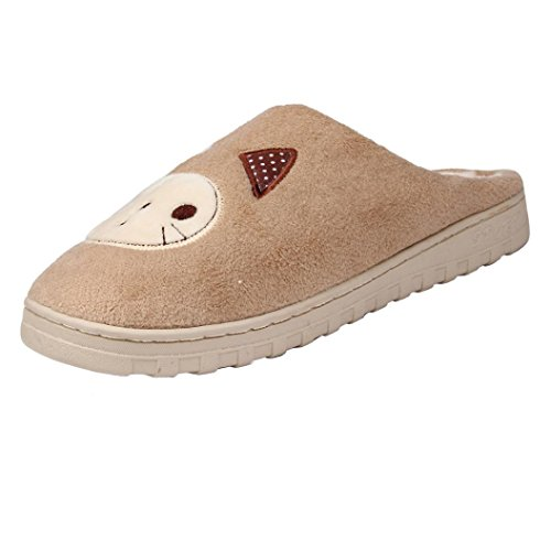 Sunfei Women Soft Warm Indoor Candy Colors Cotton Slippers Home Anti-slip Shoes Khaki 2CJ63