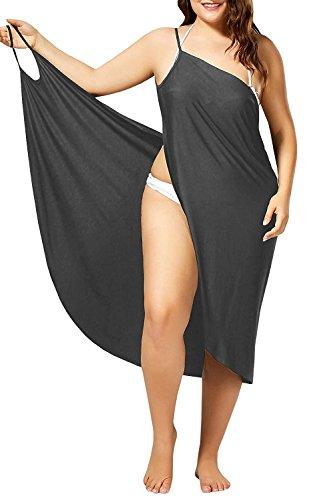 (Womens Cover Ups Beach Spaghetti Strap Sarongs Beach Backless Wrap Midi Dresses Grey)