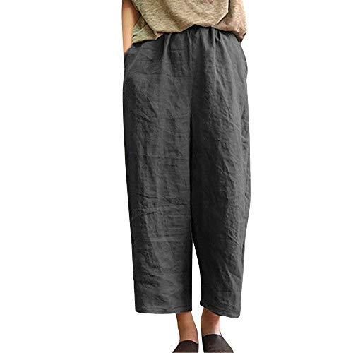 Orangeskycn Ladies Casual Flax Cotton and Linen Loose Nine Point Wide Leg Pants Dark Gray