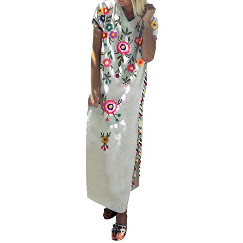 Summer Dresses for Women Vintage Printed Ethnic Style Shift Dress Tassel Casual Loose V Neck Beach Maxi Long Dress Beige