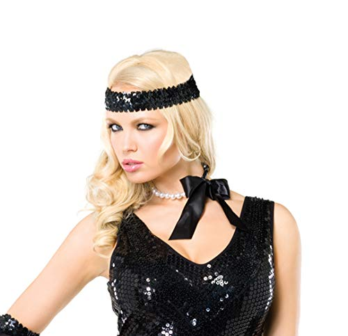 Leg Avenue Women's Faux Pearl Choker with Satin Ribbon tie(3 pcs per Pack) Adult Costume, White/Black, One Sizes Fit Most ()