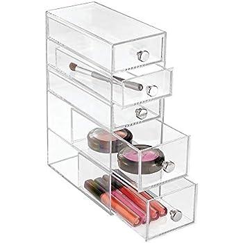 InterDesign Clarity Plastic Cosmetic 5-Drawer, Jewelry Countertop Organization for Vanity, Bathroom, Bedroom, Desk, Office, 3.5