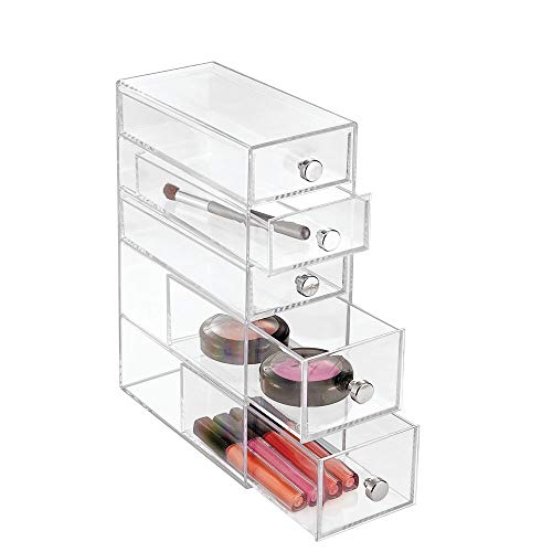 InterDesign Clarity 5-Drawer Cosmetic Organizer for Vanity Cabinet – Perfect Storage Box for Makeup, Beauty Products, Eyeglasses, Clear