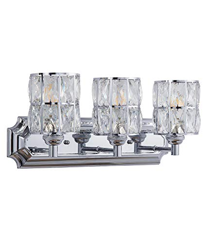 Doraimi 3 Light Crystal Plug in Wall Sconce Lighting with Chrome Finish,Modern and Concise Style Wall Light Fixture with Crystal Plate Metal Shade for Bathroom Crystal Light fixtures,etc.