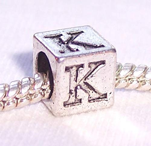 (Kappa Letter K Symbol Uppercase Greek Numeral Cube Charm for Euro Bead Bracelets Crafting Key Chain Bracelet Necklace Jewelry Accessories Pendants)