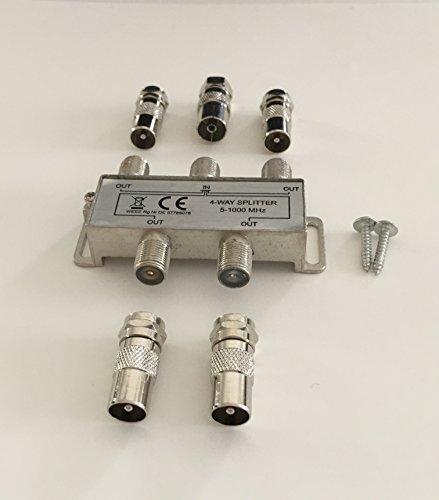 4-fach TV-Verteiler Weiche Vierfachverteiler für DVB-T und Kabelfernsehen für F-Anschluss und IEC-Anschluss (Koax)