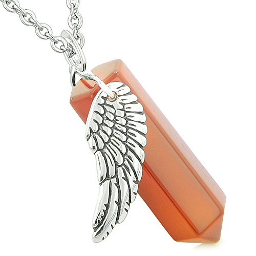 BestAmulets Amulet Angel Wing Magic Energy Wand Crystal Point Carnelian Crystal Pendant 18 Inch Necklace