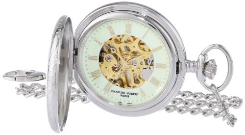 (Charles-Hubert, Paris Sterling Silver Two-Tone Mechanical Pocket Watch)