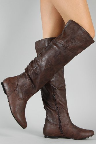 Amazon.com | Brown Pirate Corset Over the Knee Riding Boots Womens ...