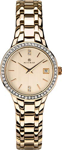 Accurist Ladies Analogue Quartz Watch with Stone Set Rose Gold Case and Rose Gold Bracelet 8234