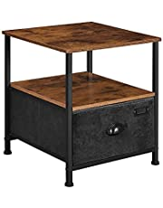 SONGMICS Nightstand, 3-Tier Bedside Table, Fabric Drawer Dresser, Industrial End Table, Black ULVT02H