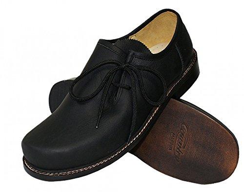 40-48 Trachtenschuhe Haferlschuhe Glattleder schwarz Trachten-Schuhe Ledersohle, Größe:45