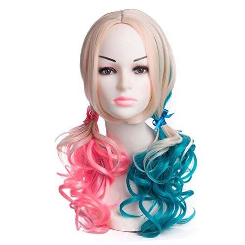 Long Wavy Wig Suicide Squad Clown Female Wig Cosplay Halle Quinn with COS Movie X Task Force Blue Pink Cosplay Christmas Carnival Halloween Fashion