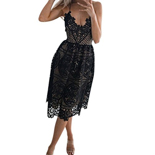 Elogoog Lace Dress, Women's Sleeveless Spaghetti Strap V Neck Party Evening Backless Lace Gown Cocktail Dress (Black, L)]()