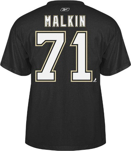 NHL Reebok Pittsburgh Penguins #71 Evgeni Malkin Black Player T-shirt (X-Large)