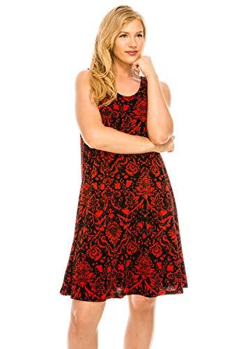 Red W172 Tank Women's Stretchy Print Dress Jostar Missy w6gqZwxS