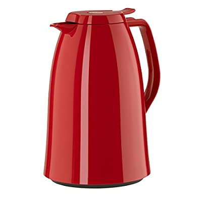 Emsa Mambo High Impact Plastic Thermal Carafe with Glass Liner, 51 oz, Red