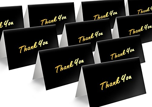 oil Thank You Cards Letterpress on Black Greeting Cards, Blank Inside - with Envelopes (4 Bar Flat Card)