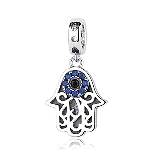 Hamsa Hand Charm - BAMOER 925 Sterling Silver Necklace Pendant for Women Evil Eyes Hamsa Blue Charm Jewelry