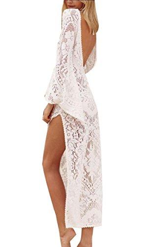 Coolred-femmes Dentelle Vêtements De Plage Sexy Dos Nu Fendu Évider Blanc Robe Longue