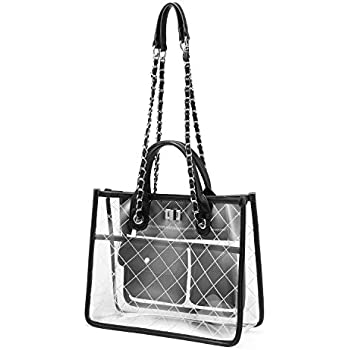 abca57a2b7bc Women Clear Handbag Fashion Shoulder Bag Stadium Approved Transparent Chain  Purse Designer Tote Quilted Concert Normal