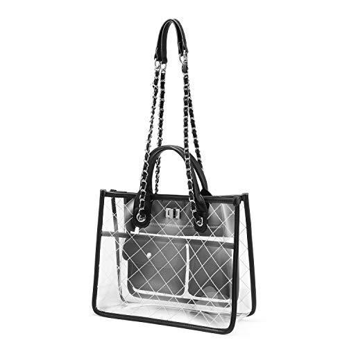 (Women Clear Handbag Fashion Shoulder Bag Stadium Approved Transparent Chain Purse Designer Tote Quilted Concert Normal Black)
