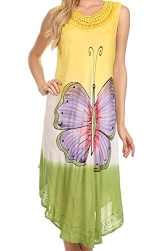Sakkas 13264 Mia Butterfly Color Block Caftan Dress - Yellow - One Size
