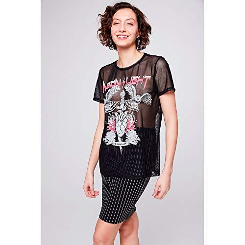 Camiseta De Tule Estampada Feminina Tam: G/cor: Preto