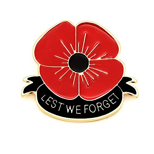 Remember Memorial Day Gifts Flower Red Black Poppy Brooch Pin Lest We Forget Enamel Lapel Pin