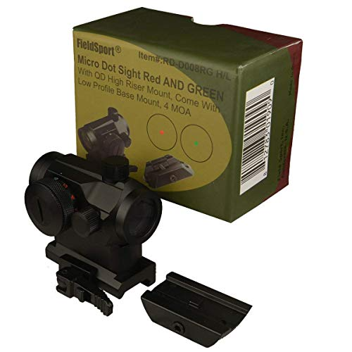 FSI FieldSport Micro Red and Green Dot Sight with QD Riser Mount, Dual Layers of Glass,4 MOA, Come with a Low Profile Base