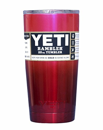 YETI Coolers Custom Powder Coated Insulated Stainless Steel 20 Ounce (20 oz) (20oz) Rambler Tumbler with Lid (Pink Red Ombre)