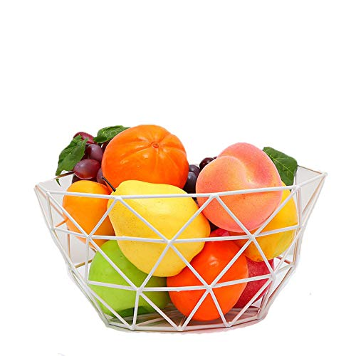 Euro Antique Simple Art Fresh Fruit Container Dry Steel Metal Basket Iron Wire Organizer Vegetable Rack Storage Tray Holder Table Snack Bowl Artificial Display Cool Gift Round Tiered (White)