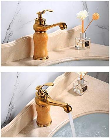蛇口 ヨーロッパスタイルのフル銅ジェイド流域の蛇口ゴールデン魔法のランプ温水と冷水の蛇口 キッチンとバスルームに適しています (Color : Gold, Size : AS PICTURE)