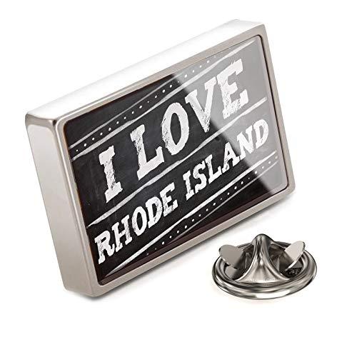 (NEONBLOND Lapel Pin Chalkboard with I Love Rhode Island)