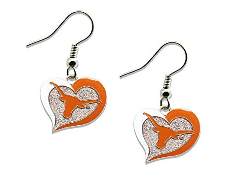 NCAA Texas Longhorns Swirl Heart Earrings ()