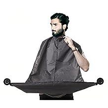 Black Beard Hair Catcher, Beard Bib, Beard Apron, beard trimming Facial Hair Catcher for Shaving and Beard Care. Professional Premium Salon Quality Material By Elite Supplies
