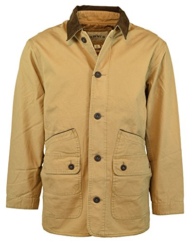 (Orvis Men's Corduroy Collar Cotton Barn Jacket (Large, Saddle))