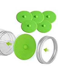 Fermentation Lids for Wide Mouth Mason Jars, Made of Maintenance Free Silicone Airlock Waterless and BPA Free, 5 Pcs(Green)