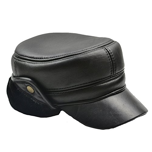 Yosang Men's Solid Genuine Leather Winter Police Cap XX-Large (Solid Genuine Leather Baseball Cap)