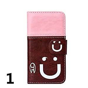 TOPQQ ships in 48 hours Two Color Smile Pattern PU Leather with Card Slot for iPhone 5/5S (Assorted Colors)